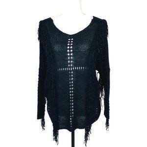 Lira Sweater Size Small Black Pullover Fringe
